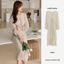 Dress Autumn 2020 Apricot S,M,L,XL Mid length dress singleton  Long sleeves commute V-neck High waist Dot zipper Ruffle Skirt puff sleeve 18-24 years old Other / other Korean version Chiffon