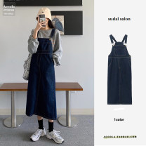 Dress Spring 2021 navy blue S,M,L longuette singleton  Sleeveless commute square neck High waist Solid color Socket A-line skirt other straps Type A Other / other Korean version Pockets, straps, buttons 91% (inclusive) - 95% (inclusive) Denim