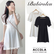 Dress Summer 2020 White, black S,M,L,XL Short skirt singleton  Short sleeve commute square neck High waist Solid color zipper A-line skirt puff sleeve Type A Other / other cotton