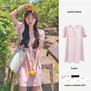 Dress Summer 2021 White, black, pink S,M,L Middle-skirt singleton  Short sleeve commute Crew neck Loose waist Solid color Three buttons A-line skirt routine Others 18-24 years old Type A Korean version 71% (inclusive) - 80% (inclusive) other polyester fiber