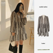 Dress Spring 2021 Picture color S,M,L Middle-skirt singleton  Long sleeves commute V-neck High waist Solid color Single breasted A-line skirt puff sleeve Others Type A Korean version Splicing 31% (inclusive) - 50% (inclusive) Chiffon polyester fiber
