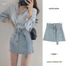 skirt Spring 2021 S,M,L Short skirt commute High waist A-line skirt 18-24 years old Denim Make old Korean version
