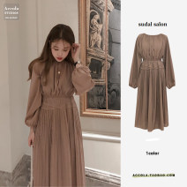 Dress Autumn 2020 Picture color S,M,L,XL Mid length dress singleton  Long sleeves commute Crew neck High waist Solid color Pleated skirt puff sleeve Others 18-24 years old Type A Other / other Korean version 81% (inclusive) - 90% (inclusive) other