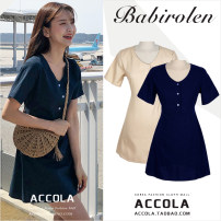 Dress Summer 2020 Apricot, Navy S,M,L,XL Short skirt singleton  Short sleeve Sweet V-neck Solid color Three buttons A-line skirt routine 18-24 years old Type A Other / other Bowknot, lace, stitching, strap, button hemp college