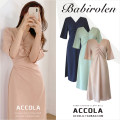 Dress Summer 2020 Light green, Navy, Beixing, pink S,M,L,XL longuette singleton  Short sleeve commute V-neck High waist Solid color zipper A-line skirt routine 18-24 years old Type A Other / other Korean version Bowknot, fold, lace, splice, strap, zipper