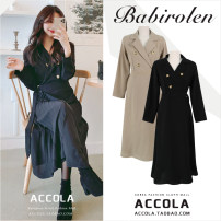 Dress Spring 2020 Black, light Khaki S,M,L,XL Mid length dress Fake two pieces Long sleeves commute Polo collar High waist Solid color Three buttons Pleated skirt routine Others Type A Other / other Korean version
