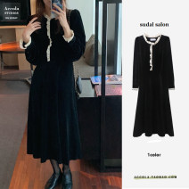 Dress Winter 2020 black S,M,L,XL longuette singleton  Long sleeves commute Half high collar High waist Single breasted Big swing puff sleeve Others Other / other Korean version polyester fiber