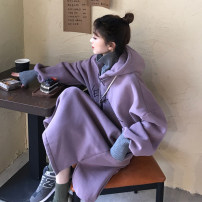 Sweater / sweater Winter 2020 Dark grey, purple Average size Long sleeves Medium length Socket singleton  Plush Hood easy commute routine Solid color 18-24 years old 96% and above Other / other Korean version polyester fiber Embroidery, Drawstring cotton Cotton liner