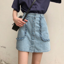skirt Spring 2021 S,M,L blue Short skirt Versatile High waist A-line skirt Solid color Type A 18-24 years old 51% (inclusive) - 70% (inclusive) Denim cotton Ruffles, pockets, buttons, zippers, stitching