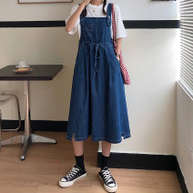 Dress Autumn 2020 Light blue, dark blue S,M,L Mid length dress singleton  Sleeveless commute square neck High waist Solid color Socket A-line skirt other straps 18-24 years old Type A Korean version 51% (inclusive) - 70% (inclusive) Denim cotton