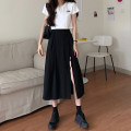 skirt Summer 2020 S,M,L black Mid length dress commute High waist A-line skirt Solid color Type A 18-24 years old 51% (inclusive) - 70% (inclusive) other Other / other cotton Korean version