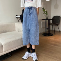 skirt Spring 2020 S,M,L blue Mid length dress commute High waist A-line skirt Solid color Type A 18-24 years old 51% (inclusive) - 70% (inclusive) Denim cotton Korean version