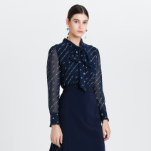 shirt NAVY PRINT 0,2,4,6,8,10 Spring 2020 polyester fiber 96% and above Long sleeves commute Regular Scarf Collar shirt sleeve stripe 30-34 years old Self cultivation Ports Ol style ALL8B020KPP106