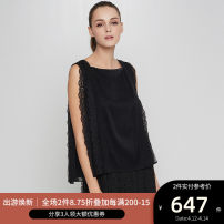 shirt BLACK,CREAM 2,4,6,8,10 Summer of 2018 nylon 96% and above Long sleeves commute Regular Crew neck Socket routine Solid color 25-29 years old Self cultivation Ports Simplicity SV8B015CLP004 Lace