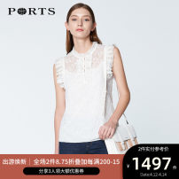 shirt CREAM 2,4,6,8,10,12,14,16 Spring 2020 polyester fiber 96% and above Sleeveless commute Regular stand collar other routine Solid color 30-34 years old Self cultivation Ports Simplicity SN8B014HLP005