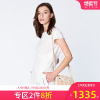 shirt CREAM 2,4,6,8,10,12 Spring 2020 polyester fiber 96% and above Short sleeve Versatile Regular Crew neck Socket routine Solid color 30-34 years old Self cultivation Ports LN8B047DWP003