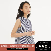 T-shirt 36,38,40,42,44 Spring of 2018 Sleeveless stand collar Self cultivation Regular other commute cotton 96% and above 25-29 years old Ol style other Vertical stripe Ports Bandage