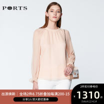 shirt CREAM TAN 2,4,6,8,10,12 Spring of 2019 silk 96% and above Long sleeves Versatile Crew neck Solid color 25-29 years old Ports SN8B026BLEF