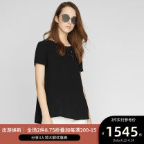 shirt BLACK 2,4,6,8,10,12 Spring of 2018 Cellulose acetate 71% (inclusive) - 80% (inclusive) Short sleeve commute Regular Crew neck Socket routine Solid color 25-29 years old Ports Ol style LA8B046CWB002 Three dimensional decoration