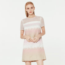 Dress Summer 2020 2,4,6,8 Short skirt singleton  Short sleeve Sweet Crew neck Loose waist Dot zipper routine Others 18-24 years old Type H Ports Screen, printing 71% (inclusive) - 80% (inclusive) cotton