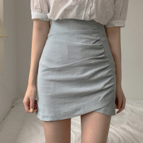 skirt Summer of 2019 XS,S,M,L,XL Short skirt commute High waist skirt Solid color Type A 18-24 years old 31% (inclusive) - 50% (inclusive) Other / other Fold, asymmetry, zipper Korean version
