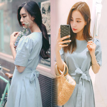 Dress Summer of 2018 S,M,L,XL Mid length dress singleton  Short sleeve commute Crew neck High waist Solid color zipper Big swing routine Others Type A Other / other Korean version Bow, tie, zipper