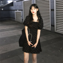 Dress Summer 2020 Apricot, black S,M,L,XL Middle-skirt singleton  Short sleeve commute square neck middle-waisted Dot Socket A-line skirt puff sleeve Others 18-24 years old Type A Other / other Korean version 31% (inclusive) - 50% (inclusive)