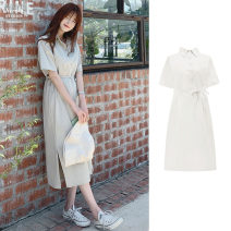 Dress Summer 2020 Apricot, Navy, khaki S,M,L,XL longuette singleton  Short sleeve commute Polo collar Loose waist Solid color Three buttons A-line skirt routine Others 18-24 years old Type A Other / other Korean version 31% (inclusive) - 50% (inclusive)
