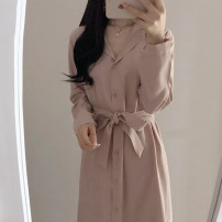 Dress Autumn of 2019 Sky blue, pink S,M,L,XL Mid length dress singleton  Long sleeves commute Polo collar High waist Solid color Single breasted A-line skirt routine Others 18-24 years old Type H Other / other Korean version