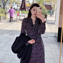 Dress Autumn 2020 violet S,M,L,XL longuette singleton  Long sleeves commute V-neck High waist Broken flowers Socket Ruffle Skirt Others 18-24 years old Type A Other / other Korean version 31% (inclusive) - 50% (inclusive) Chiffon polyester fiber