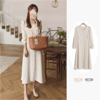 Dress Summer 2021 Apricot, violet S,M,L,XL Mid length dress singleton  Long sleeves commute V-neck High waist Solid color Single breasted A-line skirt routine Others 18-24 years old Type A Other / other Korean version 31% (inclusive) - 50% (inclusive)