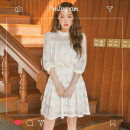 Dress Spring 2020 Off white, black S,M,L Middle-skirt singleton  three quarter sleeve commute stand collar High waist Solid color Socket A-line skirt shirt sleeve Others 18-24 years old Type A Other / other Korean version 31% (inclusive) - 50% (inclusive)