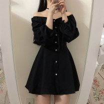 Dress Autumn of 2019 black S,M,L,XL Short skirt singleton  Long sleeves commute One word collar High waist Solid color Single breasted A-line skirt Others 18-24 years old Type A Other / other Korean version bow 31% (inclusive) - 50% (inclusive)