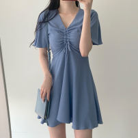 Dress Summer of 2019 White, pink, blue S,M,L,XL Middle-skirt singleton  Short sleeve commute V-neck High waist Solid color Socket A-line skirt routine Others 18-24 years old Type A Other / other Korean version 31% (inclusive) - 50% (inclusive)