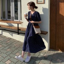 Dress Summer 2020 navy blue S,M,L,XL longuette singleton  Short sleeve commute V-neck High waist Dot zipper A-line skirt routine Others 18-24 years old Type A Other / other Korean version bow 31% (inclusive) - 50% (inclusive)