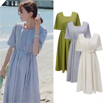 Dress Summer of 2019 S,M,L,XL Mid length dress singleton  Short sleeve commute Crew neck High waist Solid color Single breasted Big swing routine 18-24 years old Other / other Korean version Fold, tie, tie
