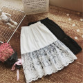 skirt Autumn of 2018 Average size White, black Mid length dress Versatile High waist A-line skirt Solid color Type A 30% and below other Lace