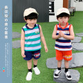 suit Siliba Blue, red 90cm,100cm,110cm,120cm,130cm male summer Korean version Sleeveless + pants 2 pieces routine There are models in the real shooting Socket nothing stripe cotton Class B Cotton 100% 2 years old, 3 years old, 4 years old, 5 years old, 6 years old, 7 years old, 8 years old