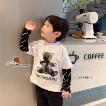 T-shirt White, black Duo Ge Yi Tong 90cm,100cm,110cm,120cm,130cm neutral spring and autumn Long sleeves Crew neck Korean version There are models in the real shooting nothing cotton Cartoon animation Class B Two, three, four, six, seven, eight Chinese Mainland Guangdong Province Foshan City