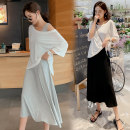 Dress Yunjia Grey (two piece set) M. L, XL, XXL, XXXL, increase XXXL Korean version elbow sleeve have more cash than can be accounted for summer Crew neck Solid color Pure cotton (95% and above)