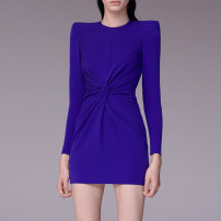 Dress / evening wear Wedding, adulthood, party, company annual meeting, performance, routine, appointment XXL,XXXL,XS,S,M,L,XL,XM royal blue grace Short skirt middle-waisted Spring 2020 Short buttocks zipper Brocade 26-35 years old JR8648 Long sleeves 96% and above