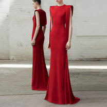 Dress / evening wear Wedding, adulthood, party, company annual meeting, performance, routine, appointment XXL,XXXL,XS,S,M,L,XL,XM Red, black grace longuette middle-waisted Spring 2020 fish tail zipper Brocade 26-35 years old Like a red tail Sleeveless Han Zise 96% and above