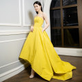 Dress / evening wear Wedding, adulthood, party, company annual meeting, performance, routine, appointment XXL,XXXL,XS,S,M,L,XL,XM yellow fashion longuette middle-waisted Spring 2020 A-line skirt Chest type Brocade 26-35 years old Wenyongshan bra dress Sleeveless 96% and above