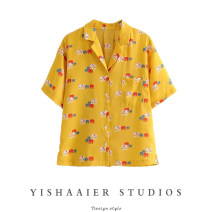 shirt It's yellow S, M Summer 2021 other 51% (inclusive) - 70% (inclusive) Short sleeve commute Regular tailored collar Single row multi button routine Broken flowers Straight cylinder Retro Y03S6208 Print, button