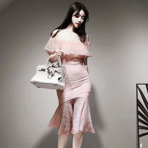 Dress Summer 2020 Pink S,M,L,XL Middle-skirt singleton  Sleeveless commute One word collar High waist Solid color Pencil skirt 18-24 years old Type H Korean version Lace