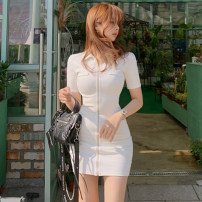 Dress Summer 2021 White, black S,M,L,XL Miniskirt singleton  Short sleeve commute Polo collar middle-waisted Solid color zipper One pace skirt routine Others Korean version zipper 81% (inclusive) - 90% (inclusive) knitting cotton