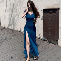Dress Summer 2020 blue S,M,L,XL Miniskirt singleton  Short sleeve commute middle-waisted Solid color Socket A-line skirt Others Type A Korean version Asymmetry 51% (inclusive) - 70% (inclusive) brocade modal