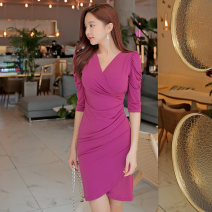 Dress Autumn of 2019 Rose Pink S,M,L,XL Short skirt singleton  three quarter sleeve commute V-neck middle-waisted Solid color zipper One pace skirt routine Others 25-29 years old Type H Other / other Korean version 81% (inclusive) - 90% (inclusive) brocade polyester fiber