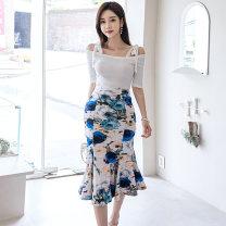 Dress Summer 2020 Suit skirt S,M,L,XL Miniskirt Two piece set elbow sleeve One word collar High waist Decor Ruffle Skirt camisole 25-29 years old brocade