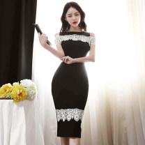 Dress Summer 2021 Black, light pink S,M,L,XL Miniskirt singleton  Sleeveless commute Crew neck High waist Solid color Pencil skirt Type H Korean version